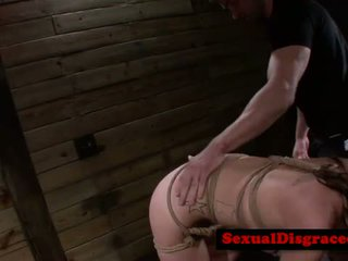Tied down bdsm fetish babe manhandled