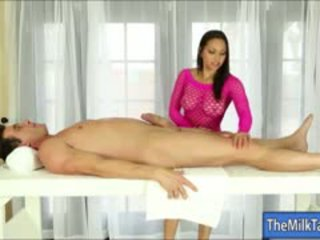 Gorgeous Masseuse Adrianna Luna Milks Cock Under The Table