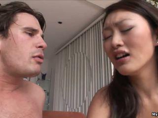 Evelyn Lin is a very horny Asian who fucks a dude