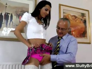 Schoolgirl getting tested by an old man