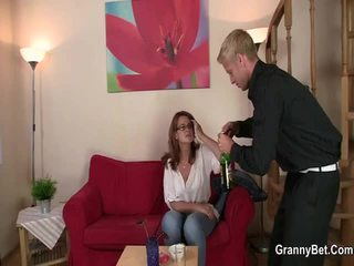 Aged Female Gives Head And Sits On Cock