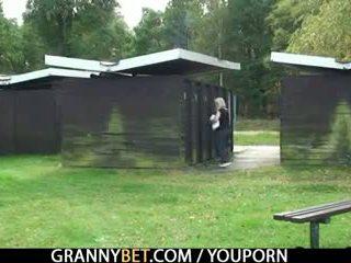 Blonde granny gets screwed by a stranger
