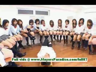 Horny japanese schoolgirls in the classroom
