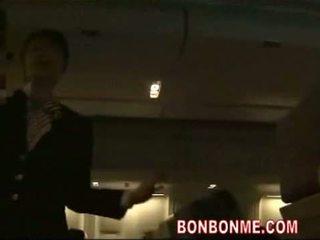 controleren japanse scène, echt pijpbeurt kanaal, groot stewardess gepost