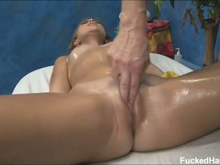 Cute Riley receiving pussy massage