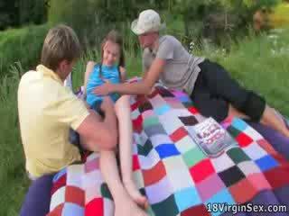 beautiful virgin gets deflowered during picnic