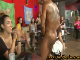 Cfnm amateur party girls suck stripper boner