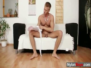 David Masturbates Inside Nylons Till Him Sperms Onto His Nylon