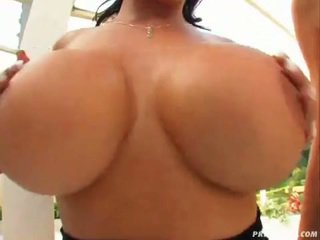 Horny babes Jane Darling and Laura Lion showing their massive natural melons