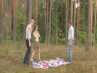 Nghiệp dư czechian có ba người trong các rừng