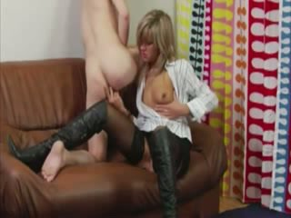 FEMDOM babe anal fingers dude on couch