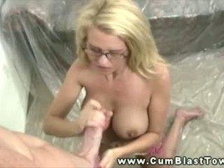 Busty blonde amateur MILF loves huge cumload on