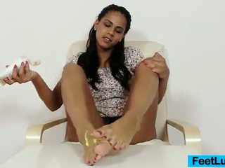 Black Haired Youthful Dolls Isabella Chrystin In Foot Fetish Vid Using Chocolate Toy