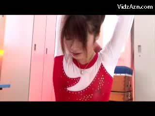 Girl In Gymnast Dress Getting Massaged With Oil Pussy Rubbed By Her Trainer In The Lockerroom