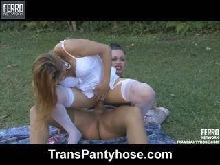 Andressa vivi tranny pantyhose hành động