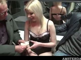 Skinny blonde tramp riding tourist shaft for cash