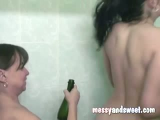 Cristy and Jules taking a shower