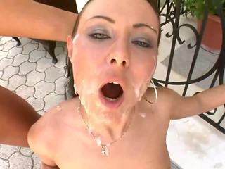 Pretty bitch slut with fresh jizz on her face