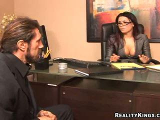 okuliare, veľké prsia plný, skutočný kancelária ideálny