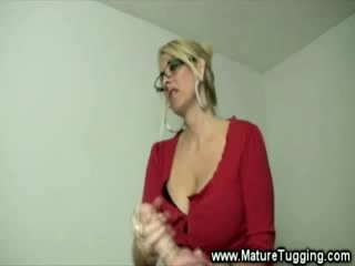 Milf gets turned on whille stroking his Rough chick dong