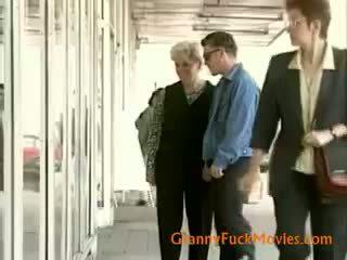 brunette, granny, blowjob, cumshot