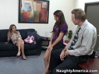 nieuw brunette, likken klem, office sex