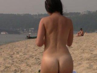 strand porno, een publiek neuken, meest nudist vid