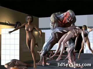 Aliens bang 3d 女の子!
