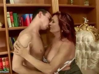 Busty grandma enjoys hot sex