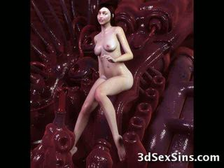 Monsters cum on 3d babes! video