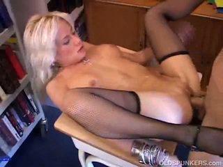 Aged Blonde Inside Stocking Shaged