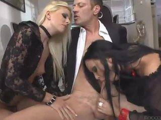 Hardcore anal threesome with big dick Rocco