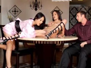 Two hot asian sluts suck & fuck big white dick & take facial