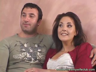 Brunette wife fucks old guy while hubby watches
