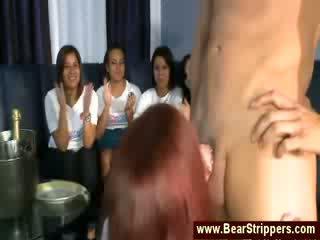 Big girl gives male stripper a hj