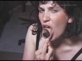 meer brunette, nominale hoorndrager vid, pijpbeurt video-