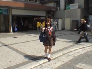 Mikan Astonishing Asian Schoolgirl Enjoys Public Flashing
