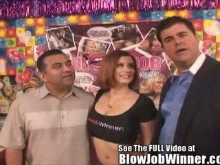 Porn Star Sara Stone Sucks Off a Very Lucky Fan