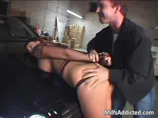 Naughty MILF with huge tits sucks cock