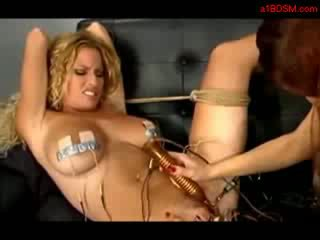 Busty Blonde Tortured With Electricity Getting Her Clit Stimulated With Toy By A Nurse On The Couch