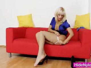 Bella morgan put pantyhose up her juicy wet pussy.