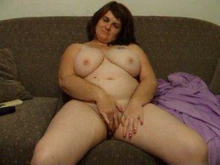 Paffuto moglie joanne rubs fica su divano