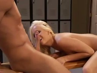 Saucy slut Eden Adams is given a twat thumping by a horny janitor