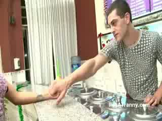 Horny college boy pays to fuck a blonde transsexual whore