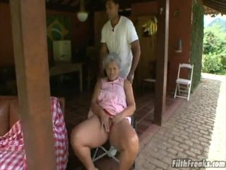 outdoor sex, masturbating, old, grandma
