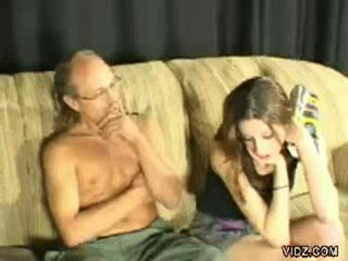 Old Dad spanks younger Babe