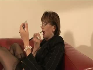 Mature stocking femdom feet licking