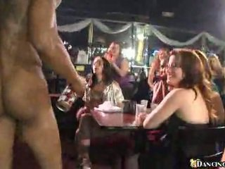Well dressed hotties sucking cocks at hen party
