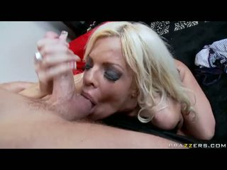 Gyzykly momma jordan blue munches a youthful sik in her mouth like a sausage