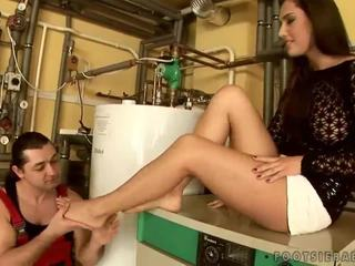 Beauty with pretty feet enjoying hot sex